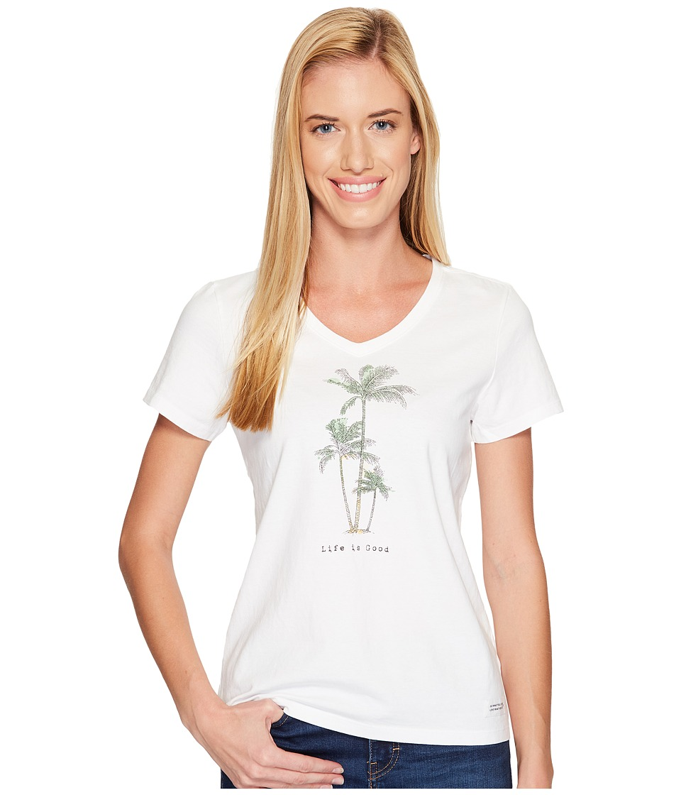 Life is Good Palm Trees Crusher Vee (Cloud White) Women