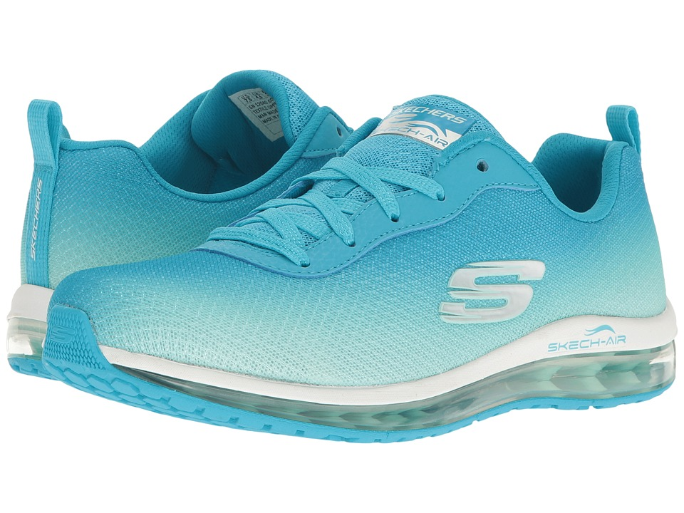 SKECHERS - Ombre Mesh Lace-Up w/ Air Cool (Blue/Mint) Womens Shoes