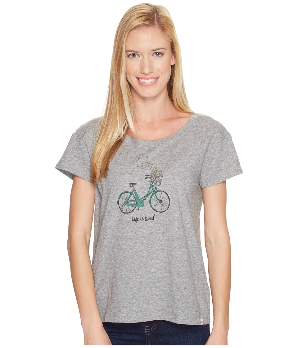 Life is Good Heart Basket Breezy Tee (Heather Gray) Women