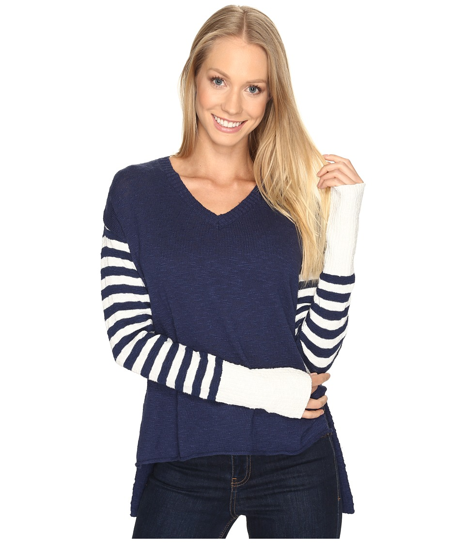 Life is Good V-Neck Slouchy Sweater (Darkest Blue) Women