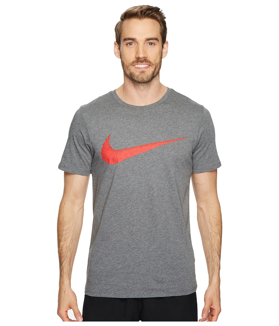 Nike Hangtag Swoosh Tee (Charcoal Heather/University Red) Men