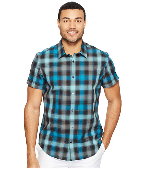 Calvin Klein Short Sleeve Shadow Plaid Shirt - Midnight Green