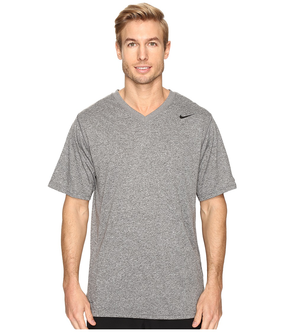 Nike Legend 2.0 Short Sleeve V-Neck Tee (Carbon Heather/Black/Black) Men
