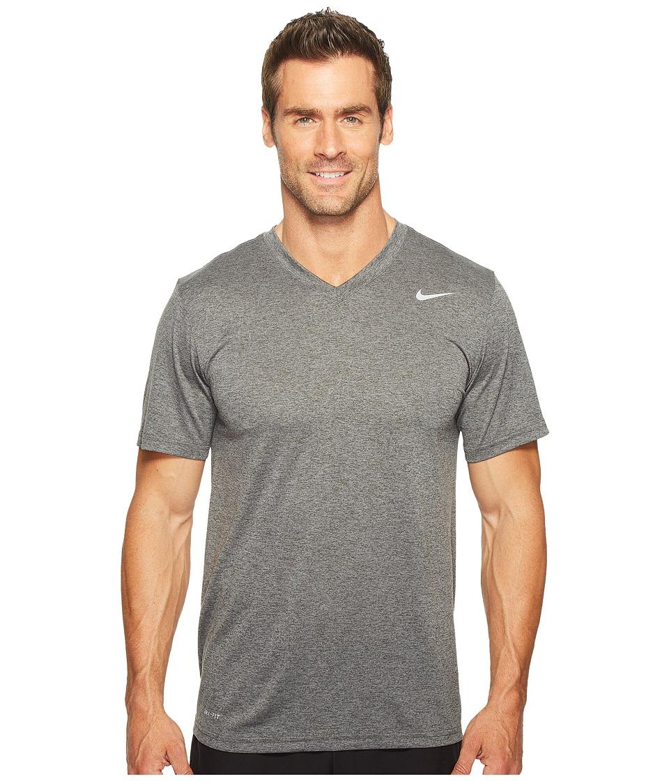 Nike Legend 2.0 Short Sleeve V-Neck Tee (Charcoal Heather/Matte Silver) Men