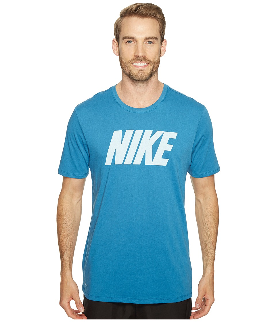 Nike Dry Block Training T-Shirt (Industrial Blue/Light Photo Blue/Heather/White) Men