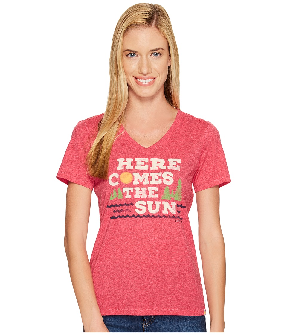 Life is Good Here Comes Sun Cool Vee (Pop Pink) Women