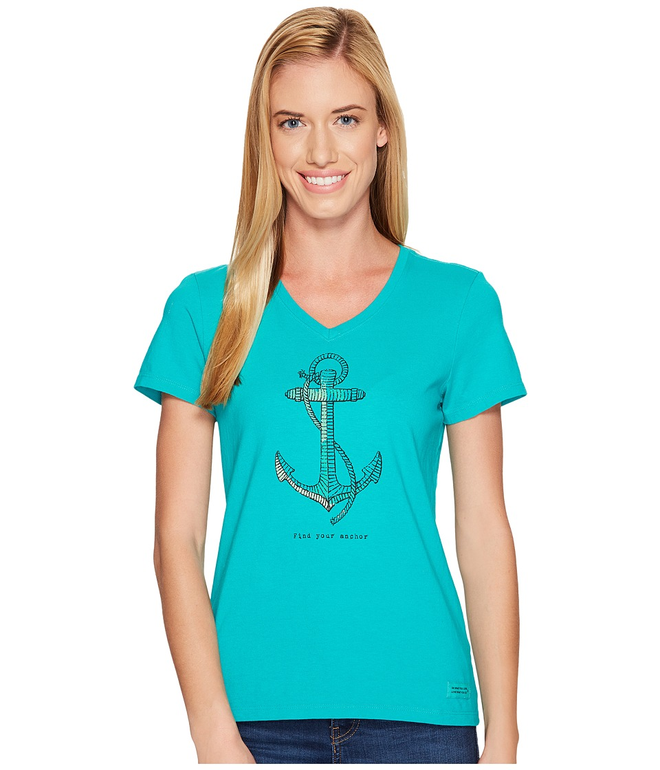 Life is good Find Your Anchor Crusher Vee (Bright Teal) Women