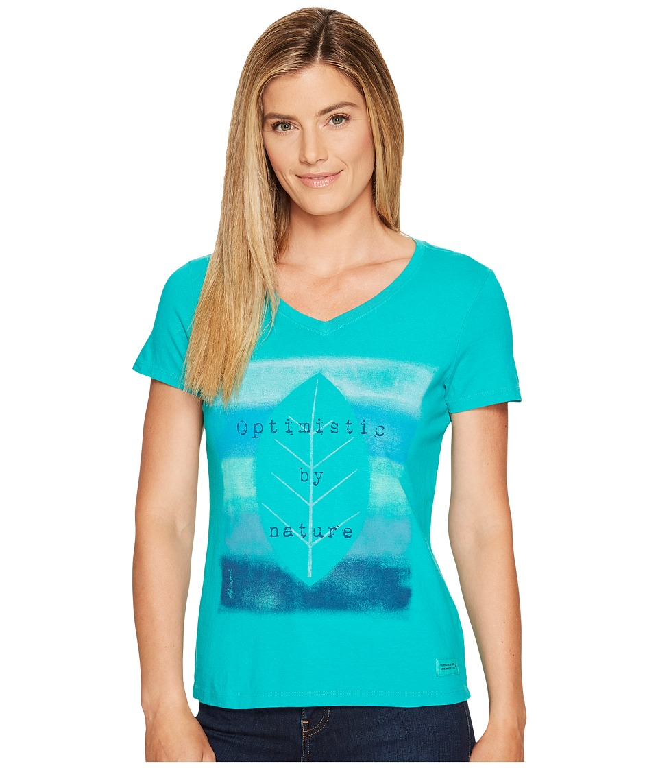 Life is Good Optimistic Crusher Vee (Bright Teal) Women