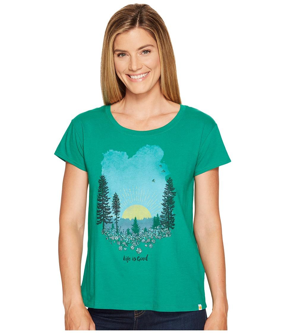 Life is Good Meadow Breezy Tee (Jungle Green) Women