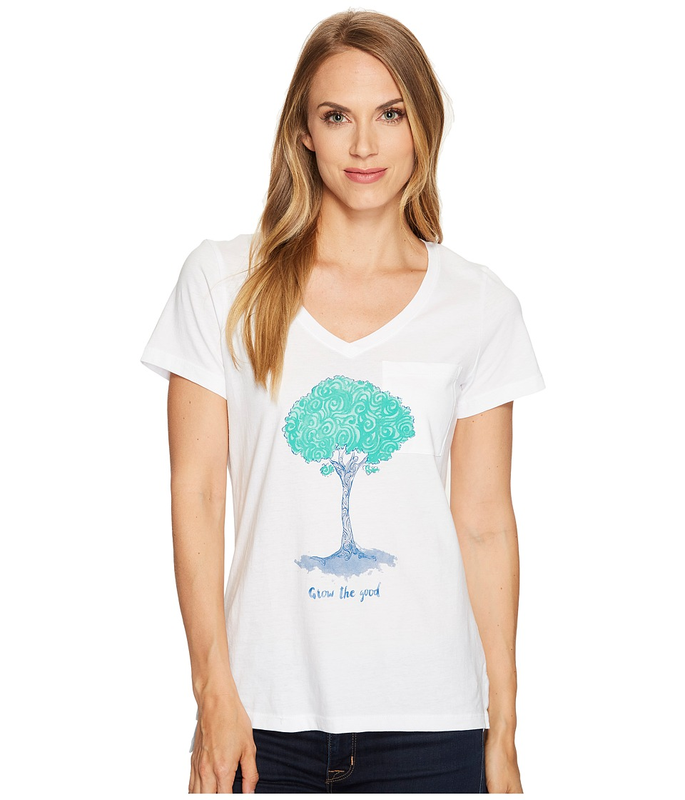 Life is Good Tree Pocket Vibe Tee (Cloud White) Women