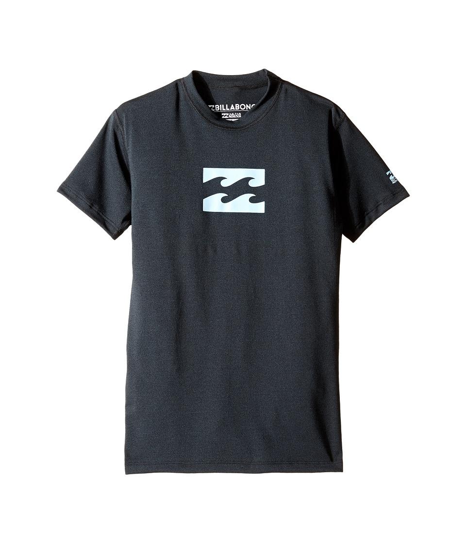 Billabong Kids All Day Wave Short Sleeve LF Wetshirt (Big Kids) (Black Heather) Boy