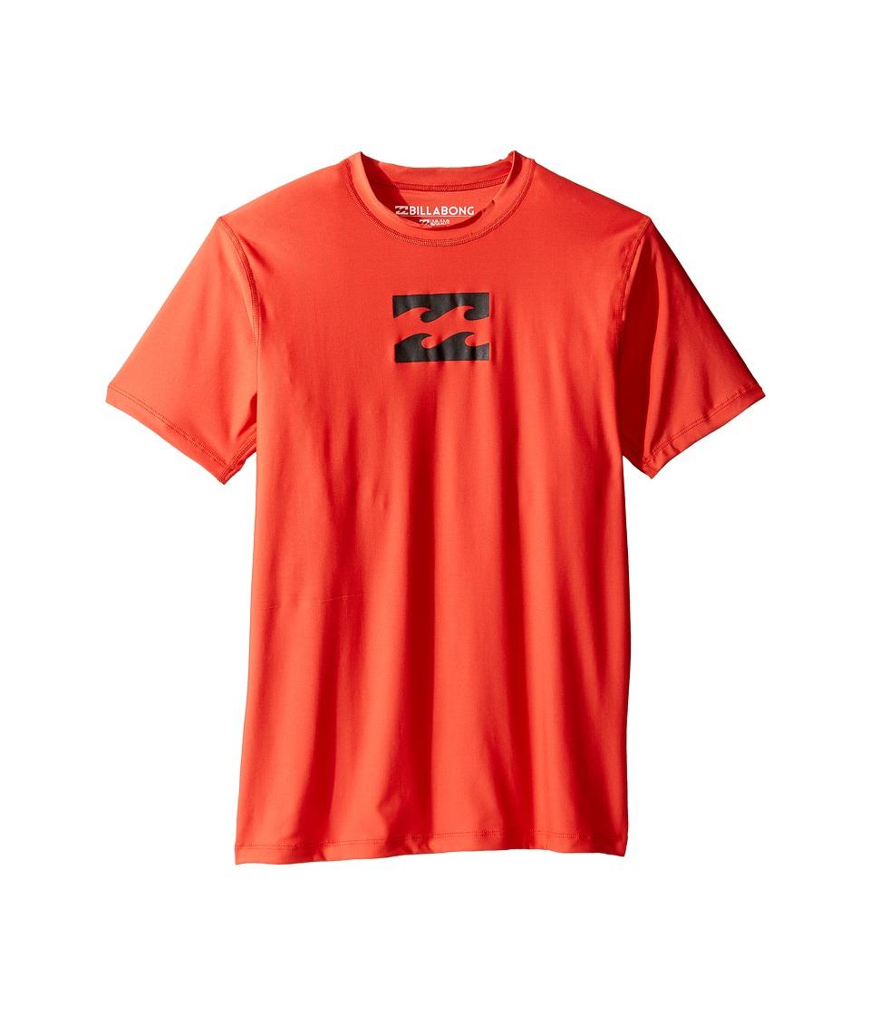 Billabong Kids All Day Wave Short Sleeve LF Wetshirt (Big Kids) (Neo Red) Boy
