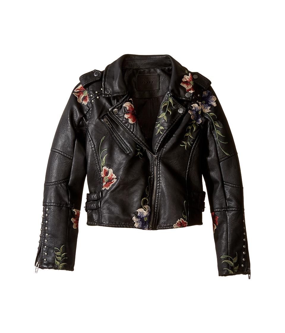 Blank NYC Kids - Floral Vegan Leather Moto Jacket