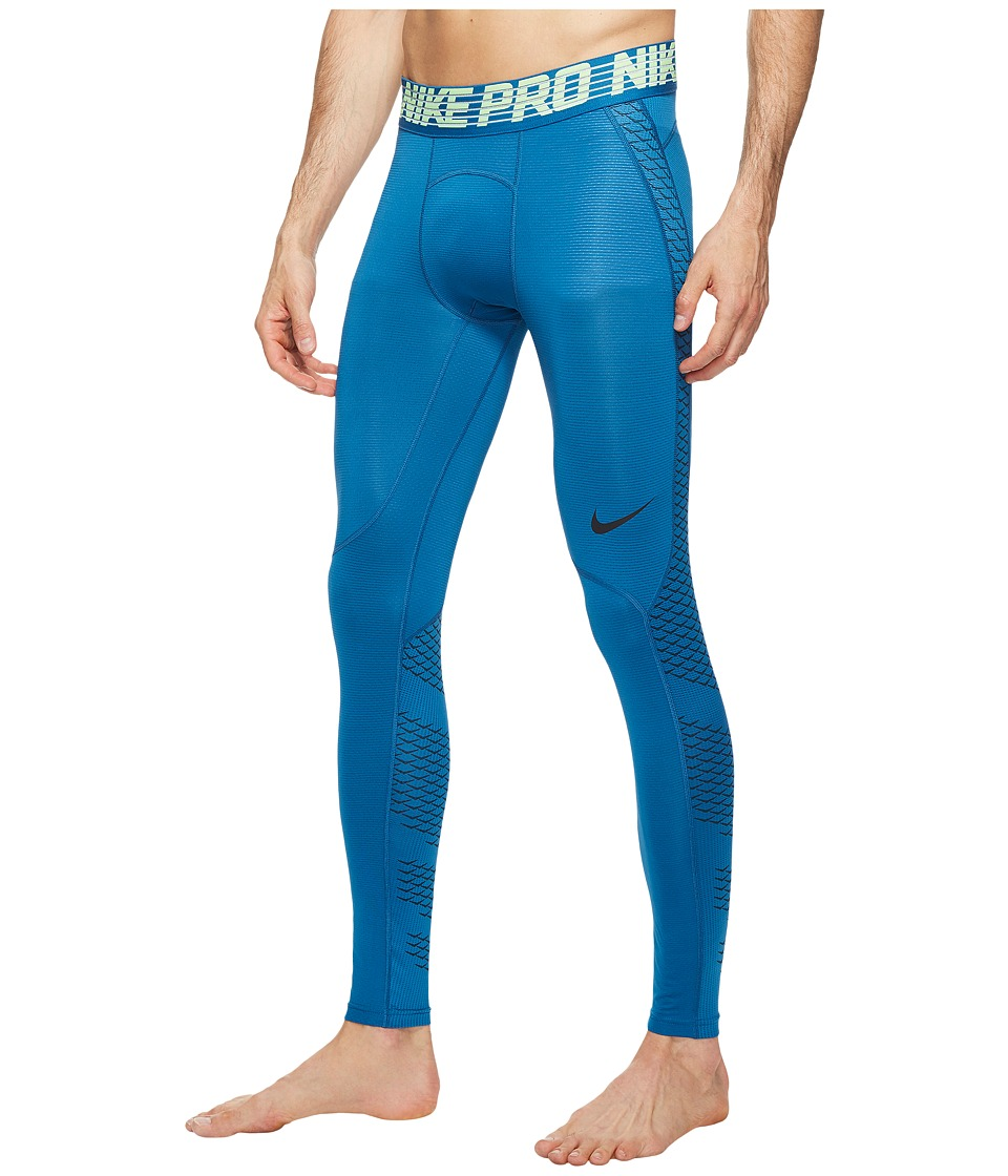 Nike Pro Hypercool Training Tight (Industrial Blue/Ghost Green/Black) Men