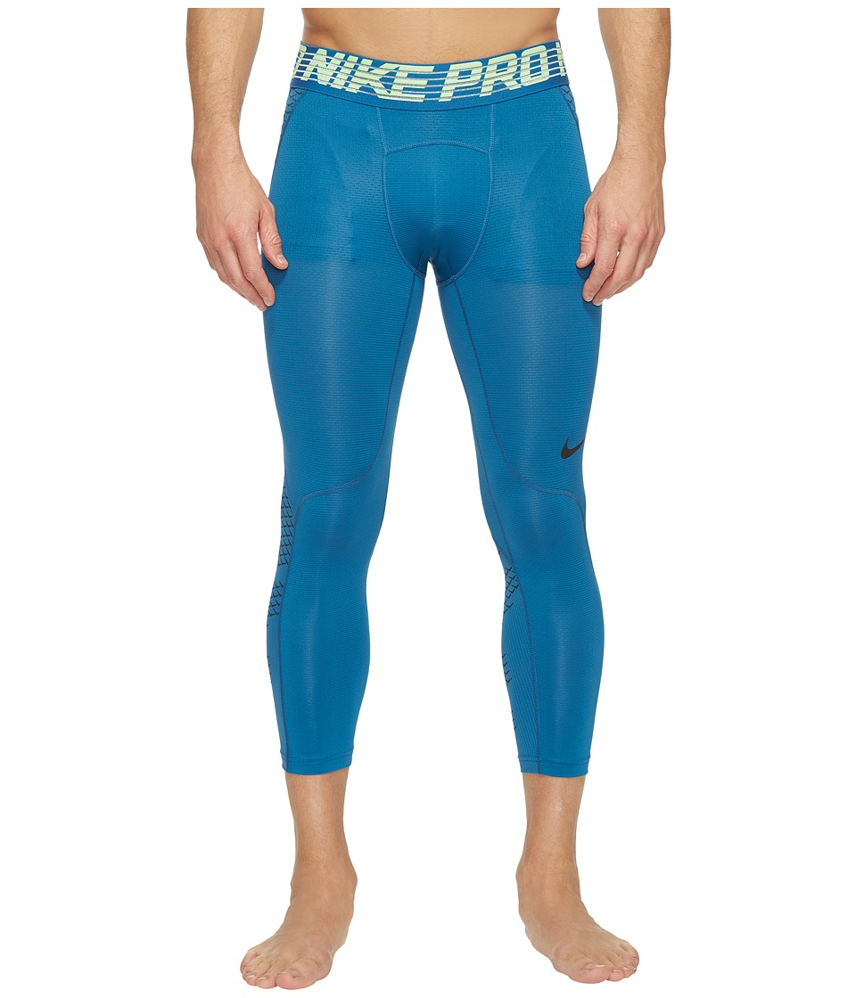 Nike Pro Hypercool 3/4 Training Tight (Industrial Blue/Ghost Green/Black) Men