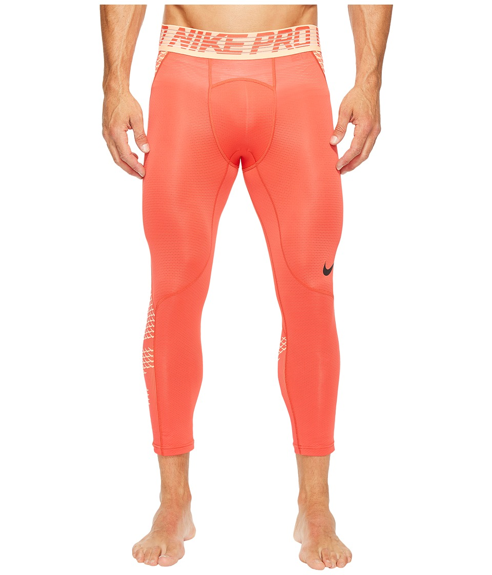 Nike Pro Hypercool 3/4 Training Tight (Track Red/Sunset Glow/Black) Men