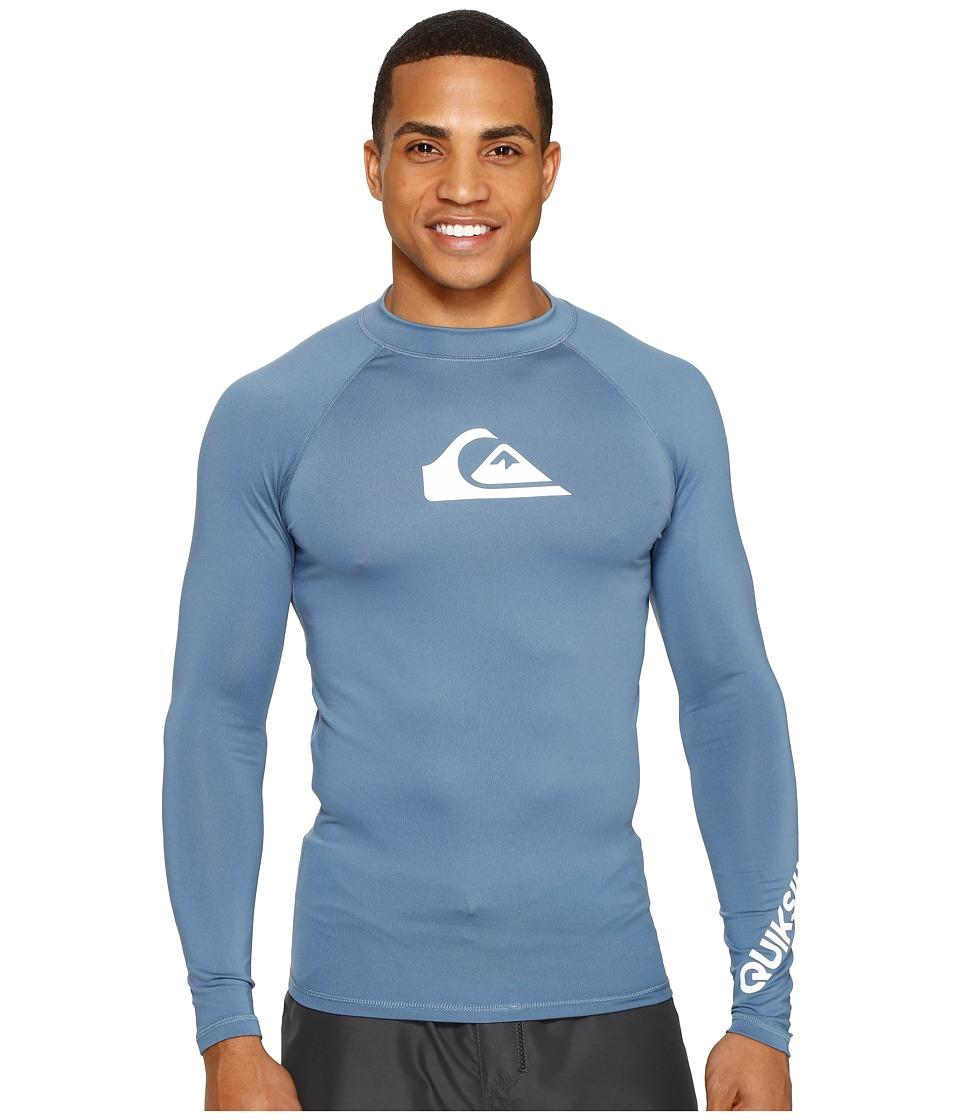 Quiksilver All Time Long Sleeve Rashguard (Captains Blue/White) Men