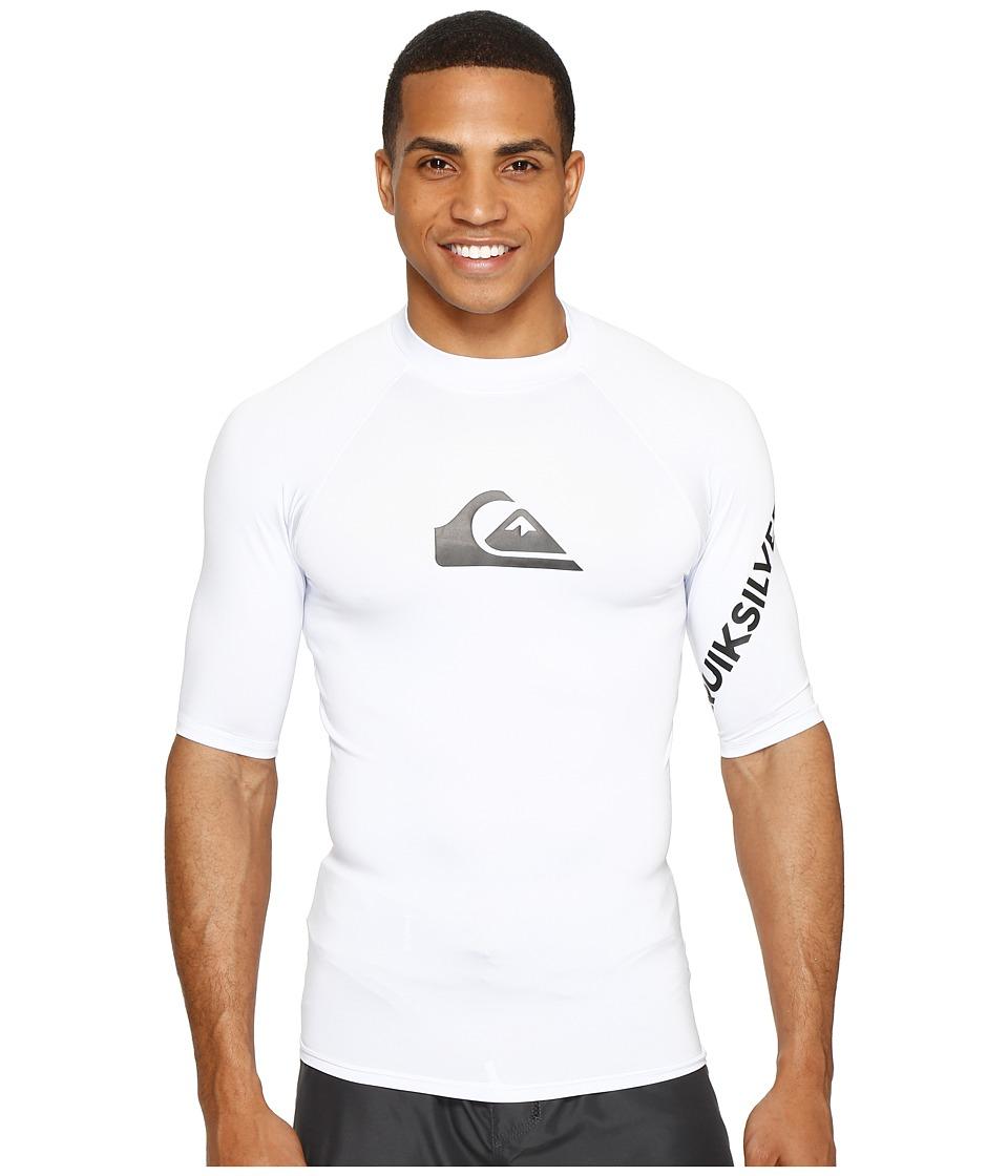 Quiksilver All Time Short Sleeve Rashguard (White) Men