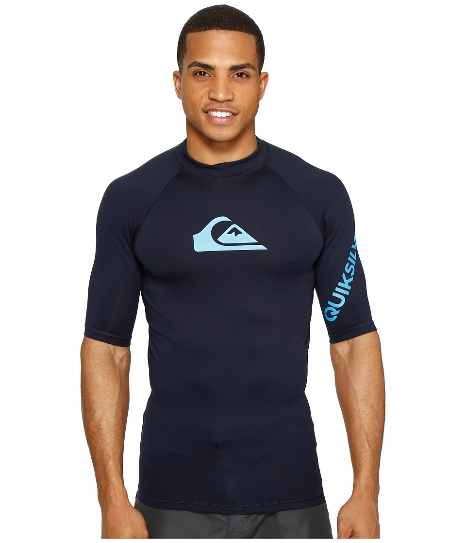 Quiksilver All Time Short Sleeve Rashguard (Navy/Blue Danube) Men