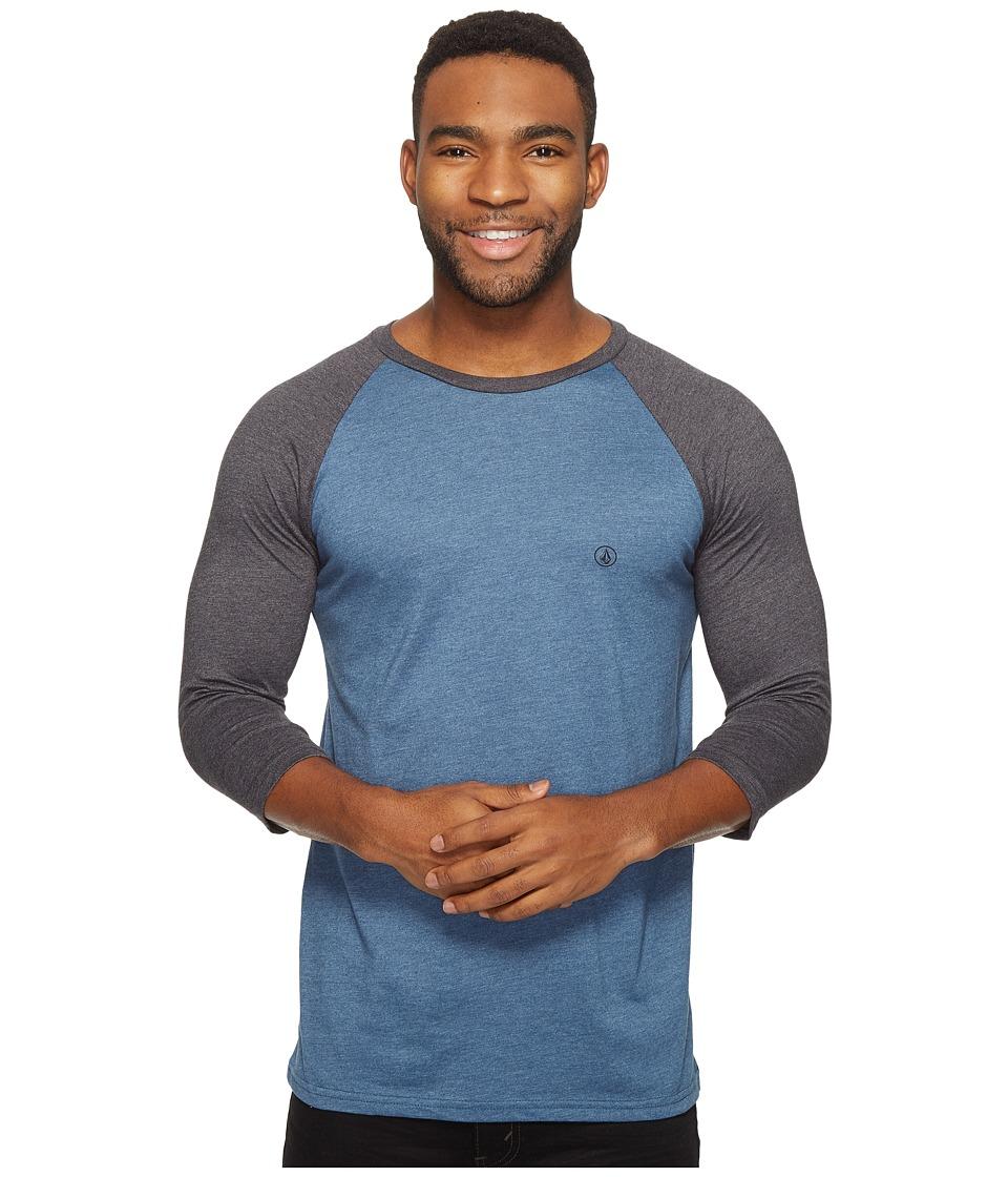 Volcom Solid Heather Raglan T-Shirt (Smokey Blue Heather) Men