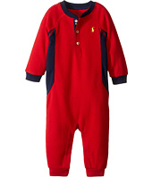Ralph Lauren Baby - Cotton Poly Waffle Henley One-Piece Coveralls (Infant)
