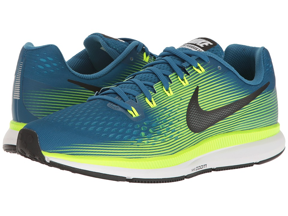 Nike Air Zoom Pegasus 34 (Industrial Blue/Black/Volt/Chlorine Blue) Men