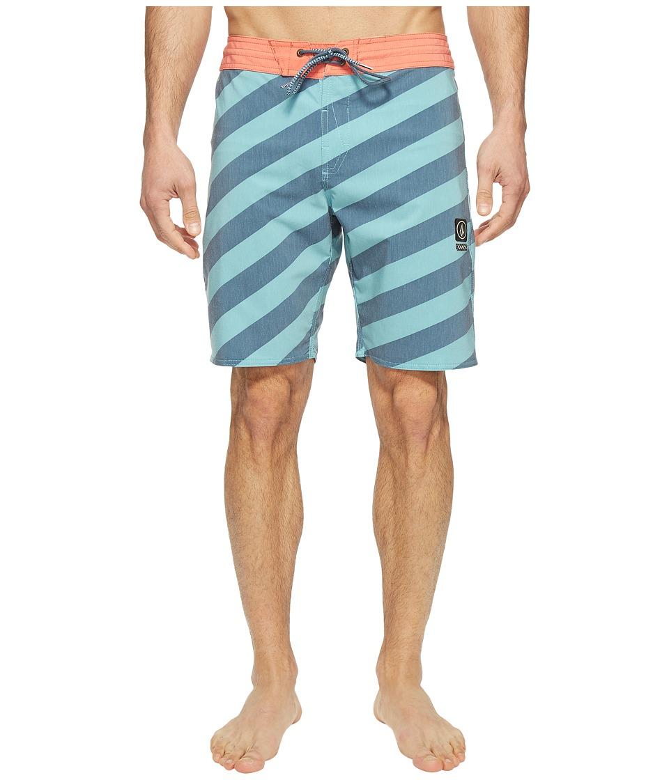 Volcom Stripey Slinger 19 Boardshorts (Sea Blue) Men