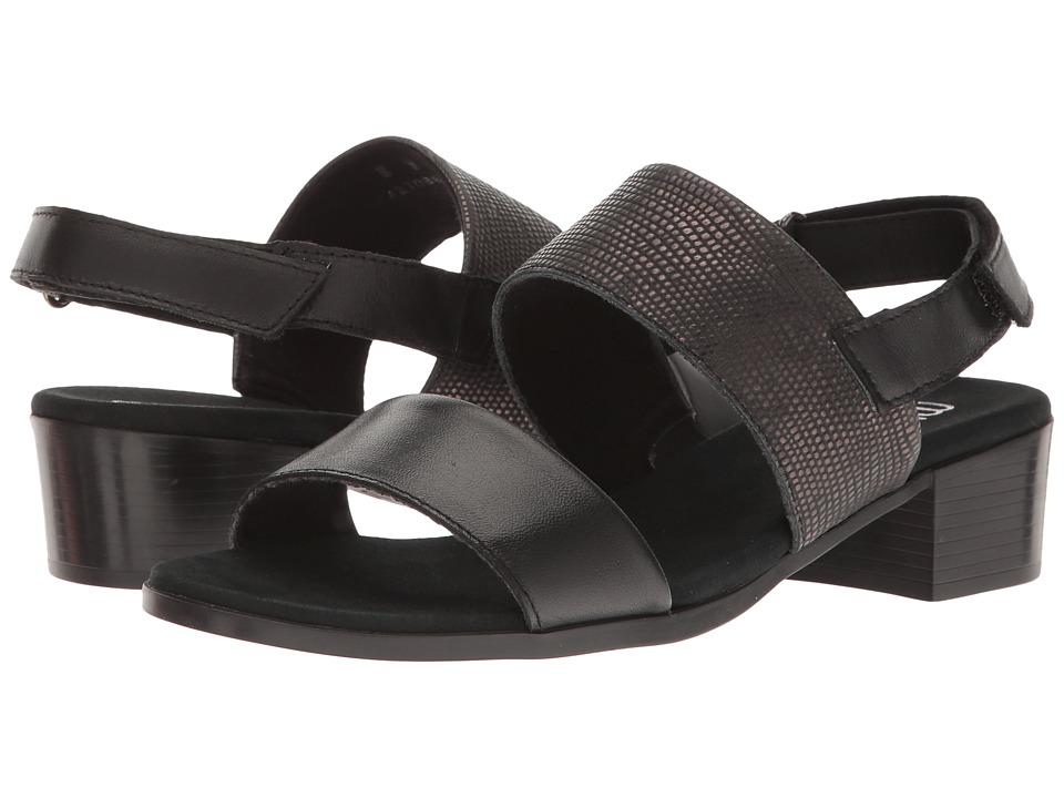 Munro Kristal (Black/Black Lizard Trim) Women's Shoes