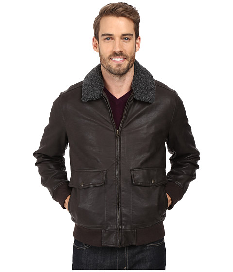 Dockers Two-Pocket Laydown Collar Aviator Bomber w/ Removable Sherpa Collar - Dark Brown