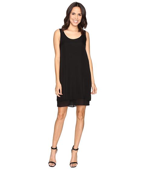 HEATHER Double Layer Silk Scoop Neck Dress - Black