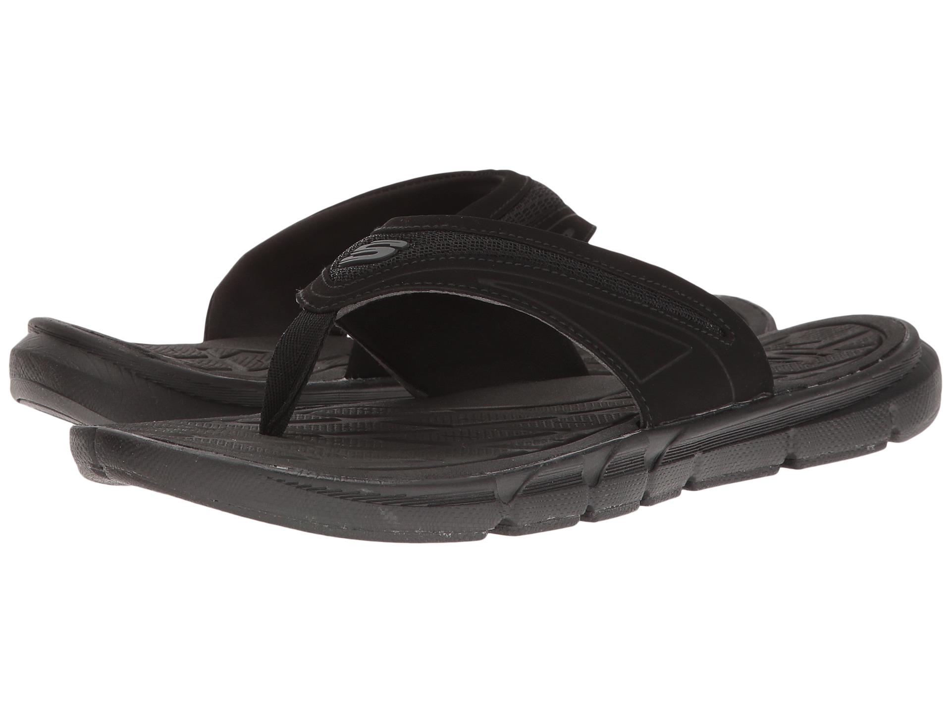 Black enclosed sandals - View More Like This Skechers Thong Sandal W Mesh