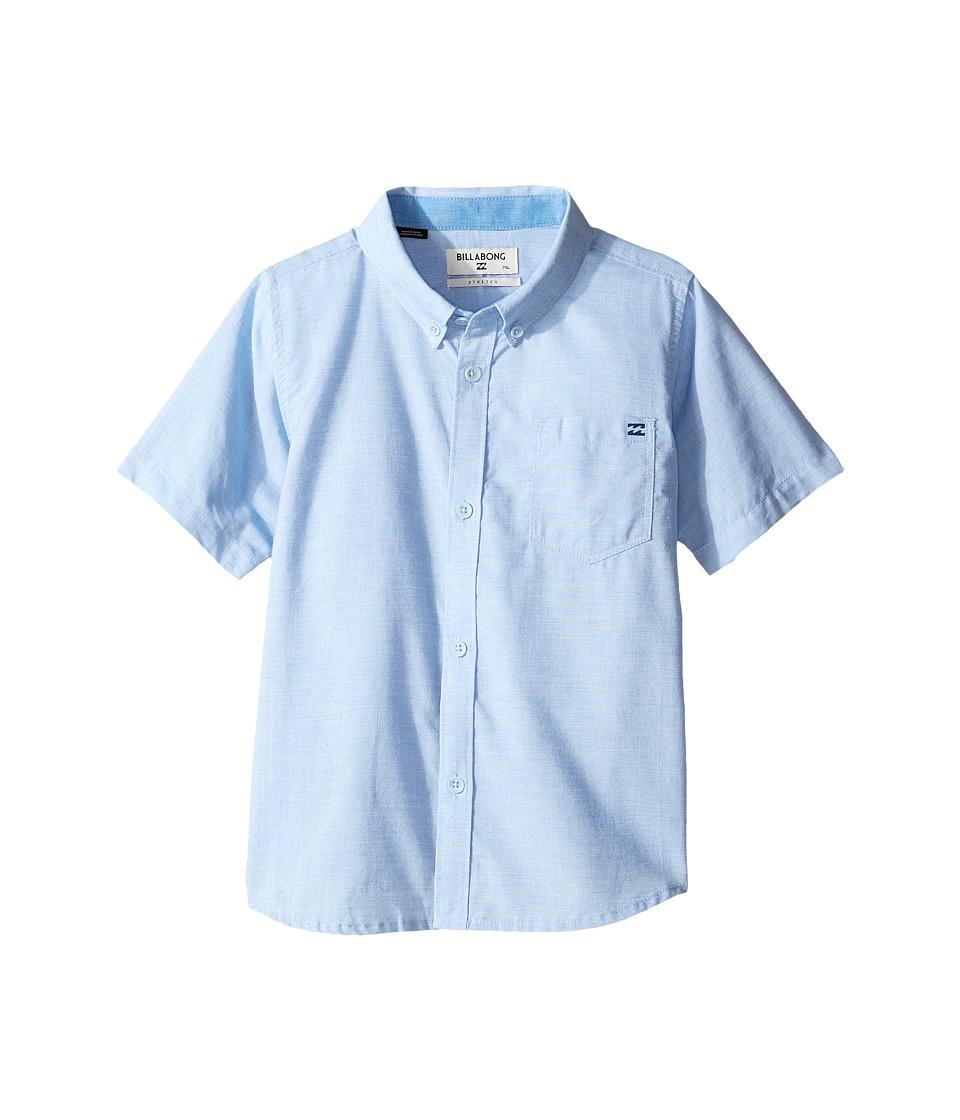 Image of Billabong Kids - All Day Chambray Short Sleeve Shirt (Toddler/Little Kids) (Light Blue) Boy's Short Sleeve Button Up