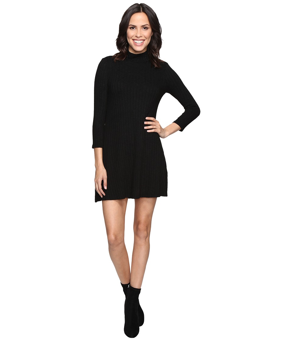 Michael Stars Jasper Poor Boy Rib 3/4 Sleeve Mock Neck Dress (Black) Women