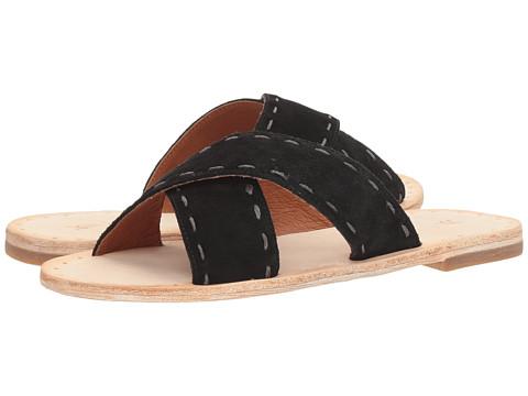 Frye Avery Pickstitch Slide - Black Soft Oiled Suede