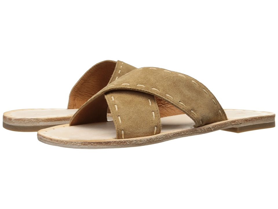Frye Avery Pickstitch Slide (Tan Soft Oiled Suede) Women