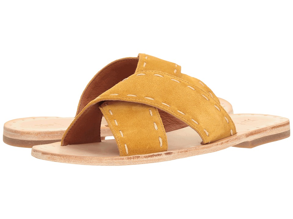 Frye Avery Pickstitch Slide (Yellow Soft Oiled Suede) Women