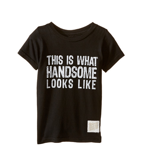 The Original Retro Brand Kids This Is What Handsome Looks Like Short Sleeve Cotton Tee (Toddler) - Black