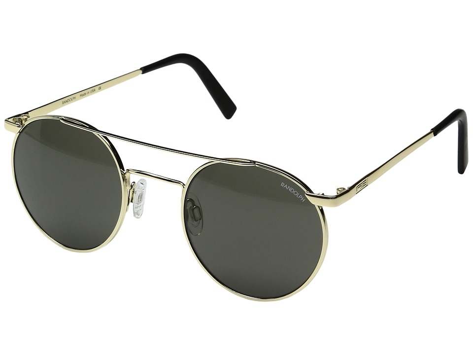 Randolph - P-3 Shadow 49mm (23K Gold/Gray Glass) Fashion Sunglasses