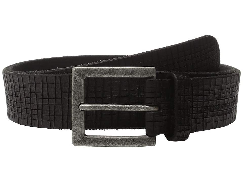 John Varvatos 40mm Artisan Textured Leather Belt (Black) Men