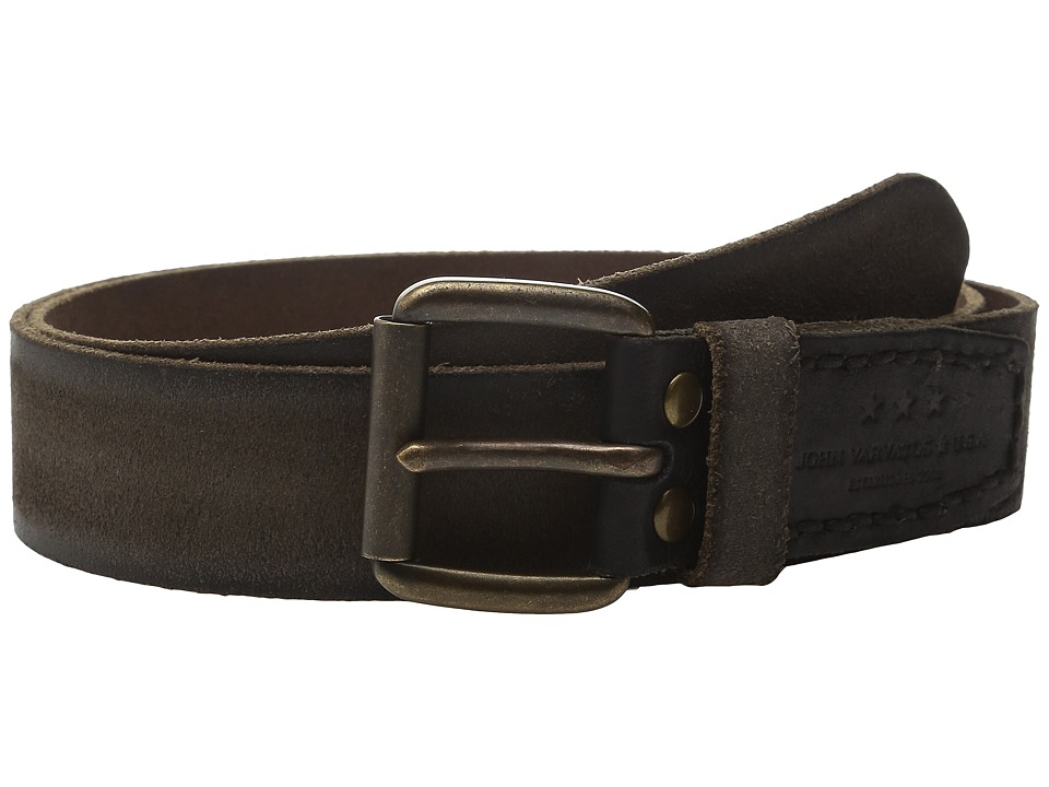 John Varvatos 40mm Waxed Suede Belt with Harness Buckle (Black) Men