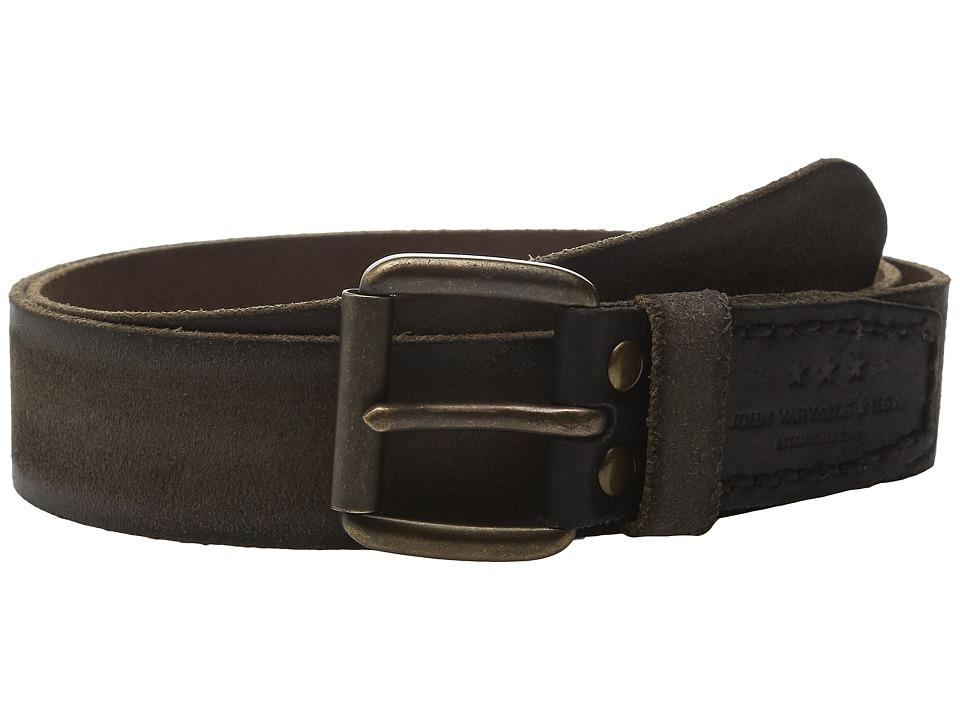 John Varvatos 40mm Waxed Suede Belt with Harness Buckle (Black) Men