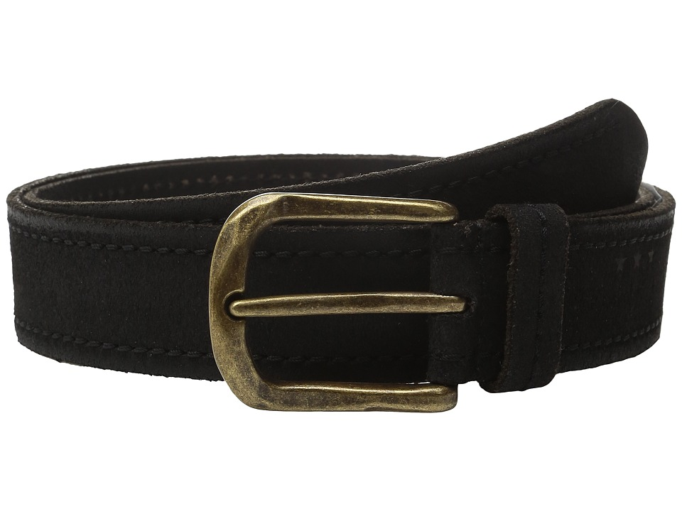 John Varvatos 40mm Textured Suede Belt with Stitch (Black) Men