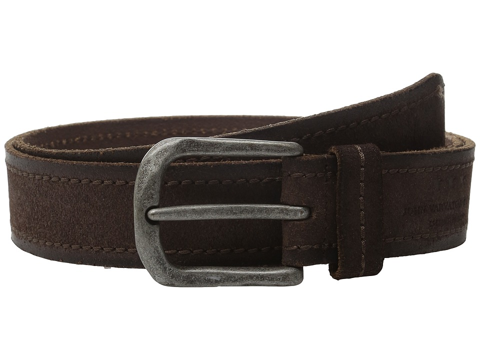 John Varvatos - 40mm Textured Suede Belt with Stitch (Chocolate) Men