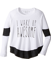 The Original Retro Brand Kids - I Wake Up Awesome Long Sleeve Inset Thermal (Big Kids)