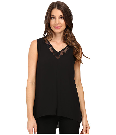Vince Camuto Sleeveless Lace Front High-Low Hem Blouse