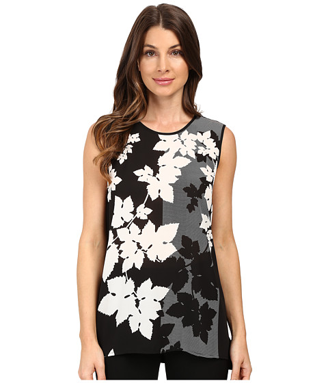 Vince Camuto Sleeveless Floral Screen Shirt Tail Mix Media Top
