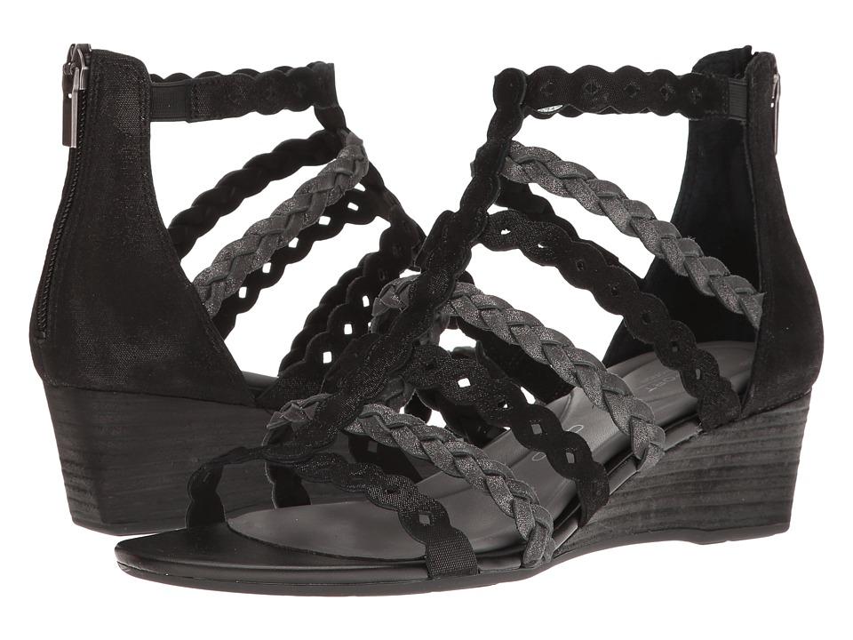 Rockport Total Motion 55mm Wedge Gladiator Sandal (Black) Women