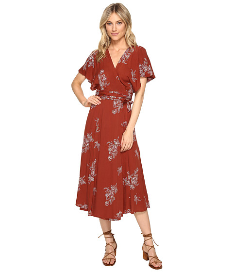 Brigitte Bailey Audrina Wrap Dress with Embroidery