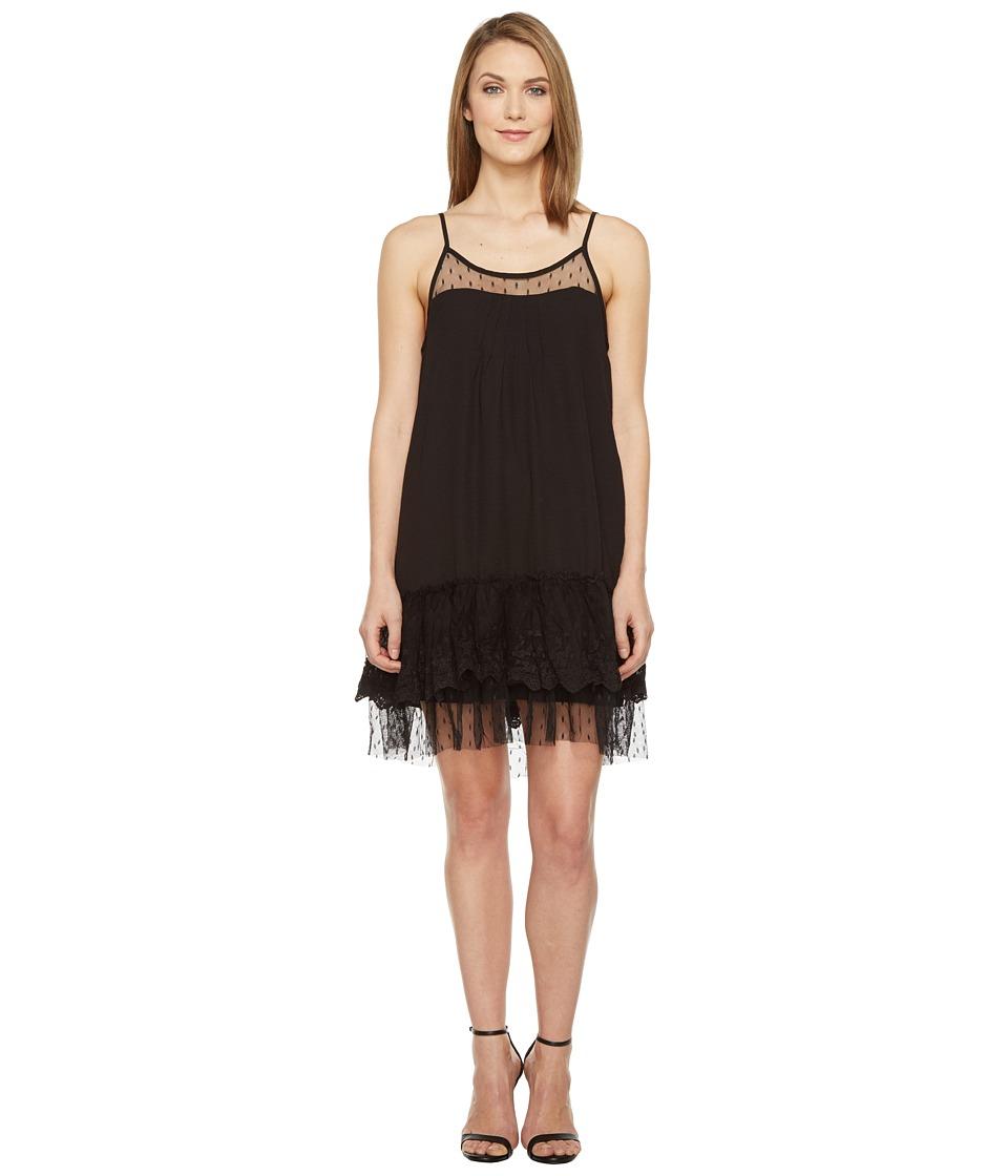 Brigitte Bailey Briah Spaghetti Strap Dress with Lace Detail (Black) Women