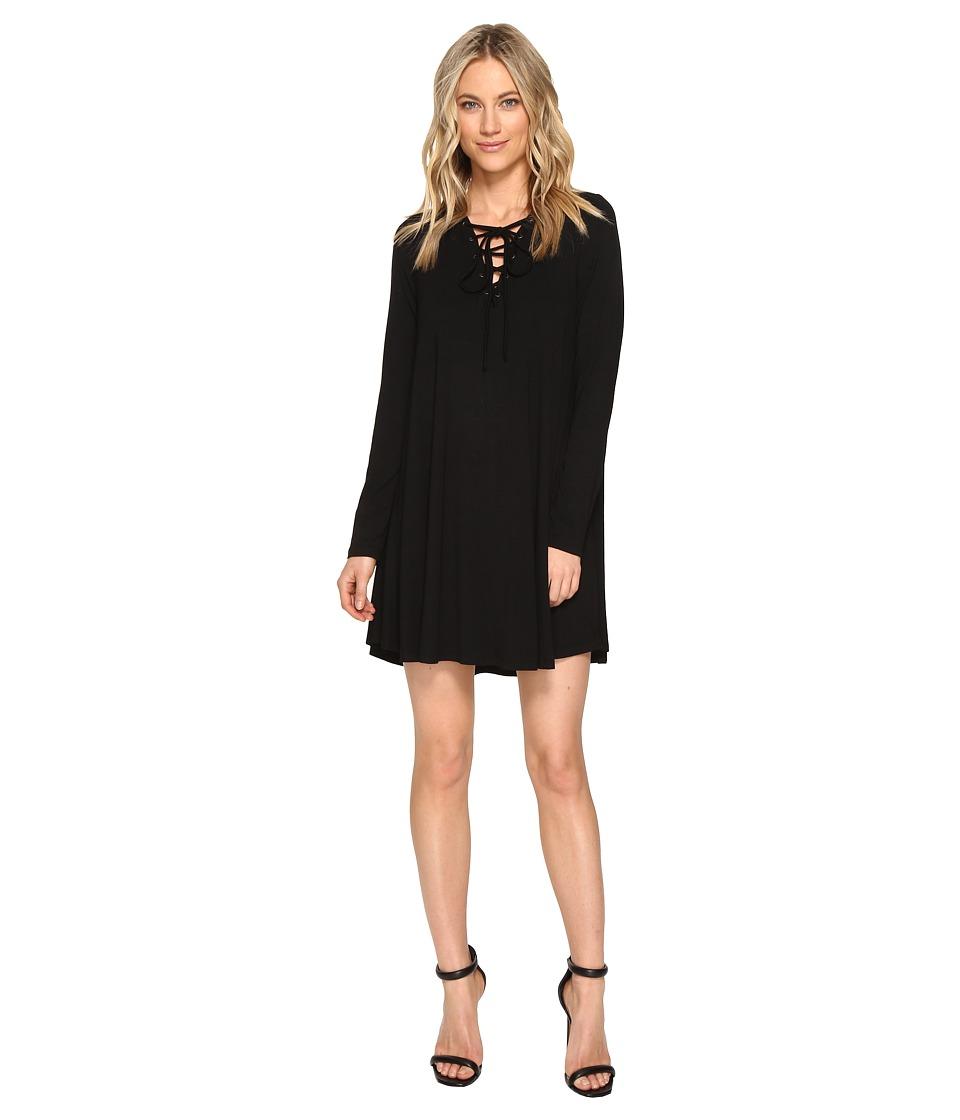 Culture Phit Rozelle Long Sleeve Tie-Up Dress (Black) Women